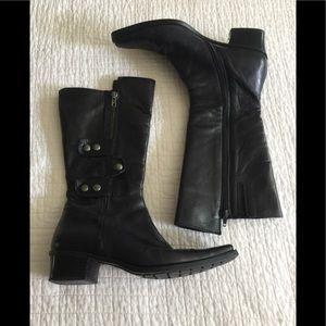 Italian made black leather mid calf boots